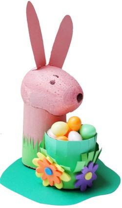 Bricolage lapin et corbeille sur tête à modeler