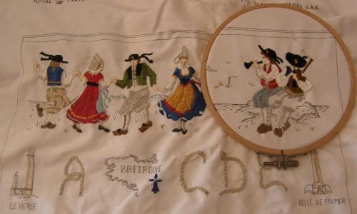 tricot,broderie,abécédaire,blouse en coton,bergère de france